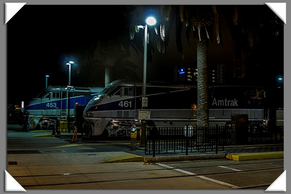 Amtrak at night at the Santa Fe Depot in San Diego