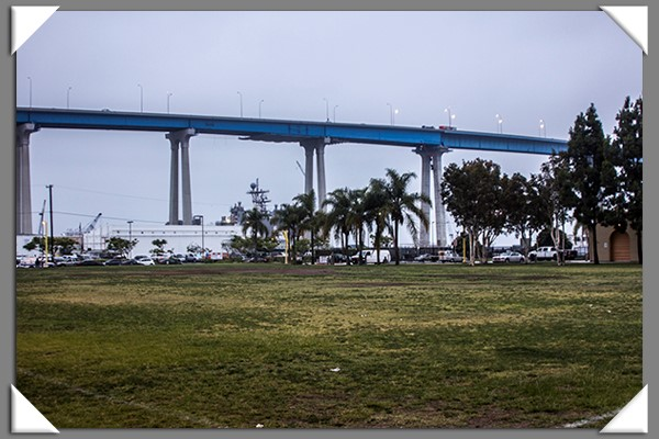 Coronado Bridge from Cesar Chavez Park in San Diego