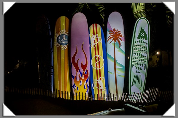 Surfboards at night