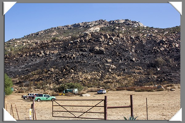 Area burned by the Lyons Fire in San Diego County September 2013