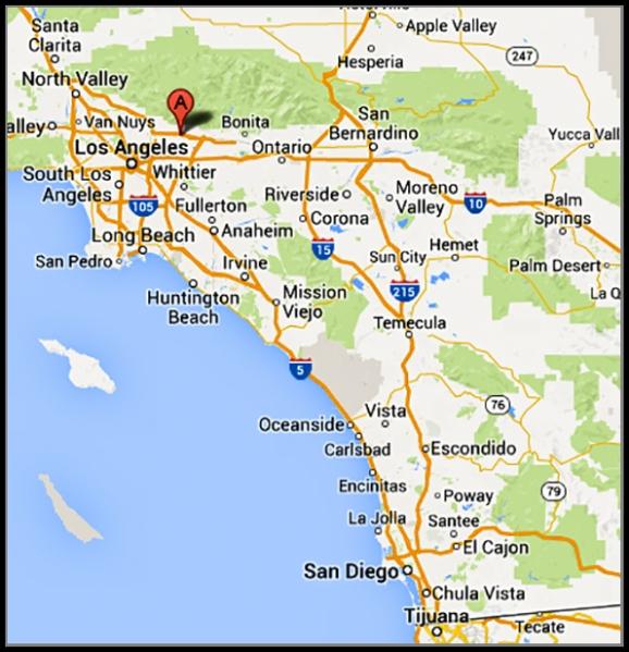 Location of Los Angeles County Arboretum & Botanical Gardens