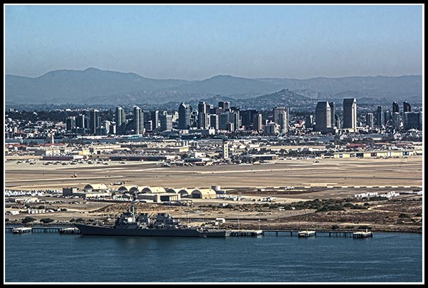 North Island Naval Air Station and downtown San Diego from Cabrillo National Monument in Point Loma