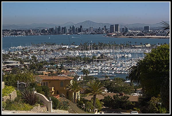Shelter Island, San Diego Bay, and downtown San Diego from Point Loma