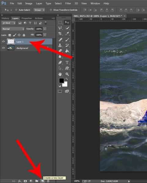 Create a new layer in Photoshop