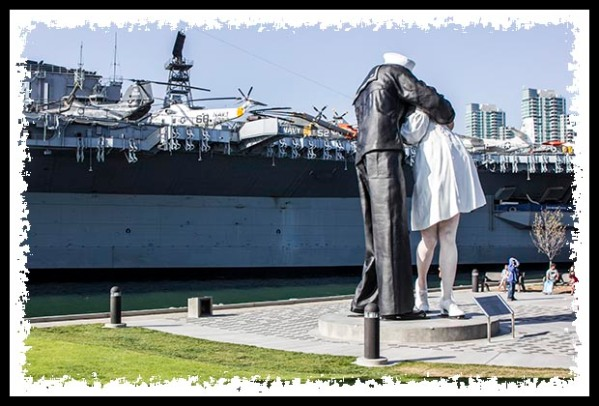 USS Midway Museum and Unconditional Surrender statue in San Diego