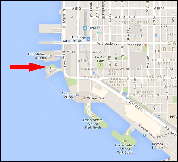 Location of the Unconditional Surrender statue in San Diego