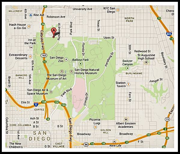 Location of Girl Scouts in Balboa Park in San Diego, California