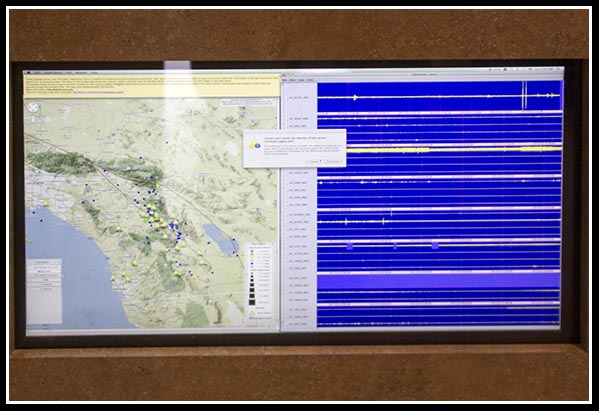 Live-streaming earthquake display at Mission Trails Regional Park Visitor Center in San Diego, California