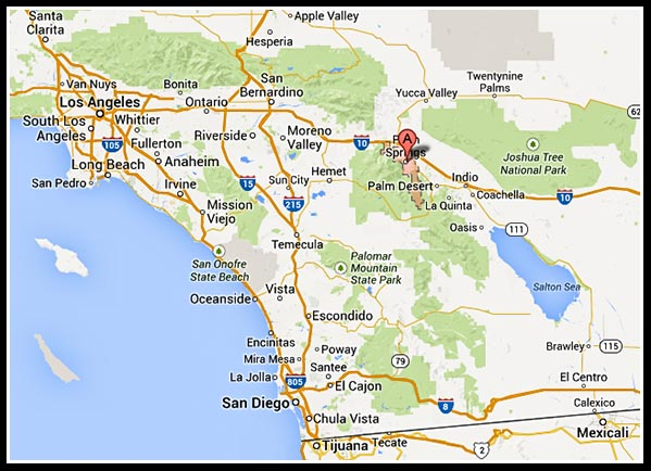 Location of Palm Springs, California
