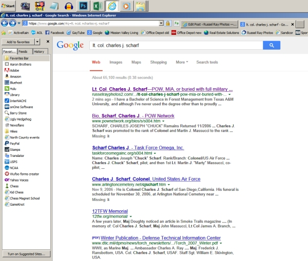 Google search results for Lt. Col. Charles J. Scharf