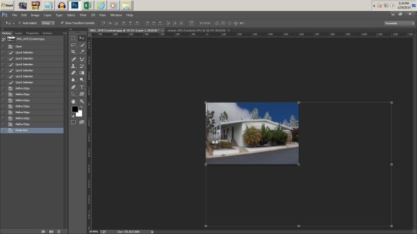 Screen shot showing transform controls