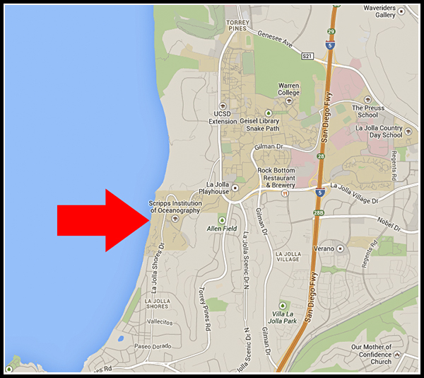 Location of Scripps Institution of Oceanography in La Jolla, California