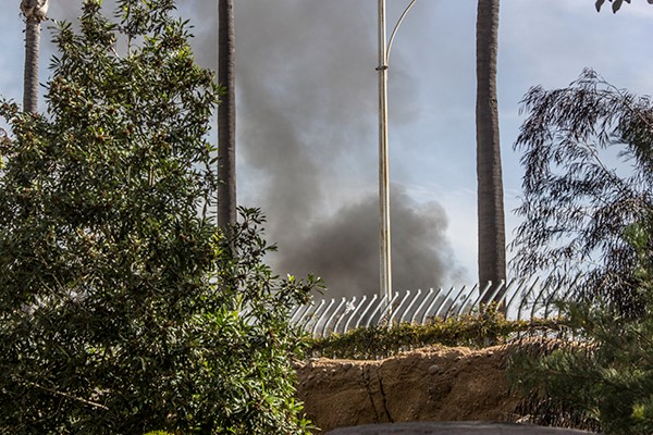 Car fire at the San Diego Zoo on March 11, 2014