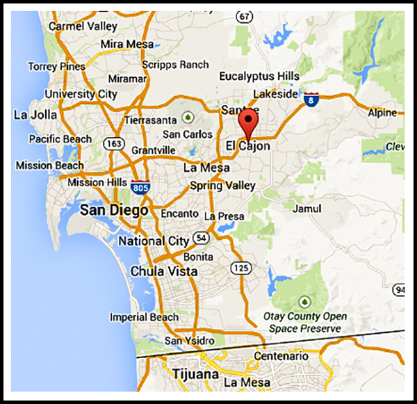 Location of El Cajon, California
