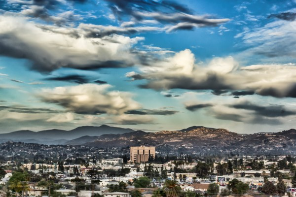 Downtown El Cajon, California, Under Cloudy Skies