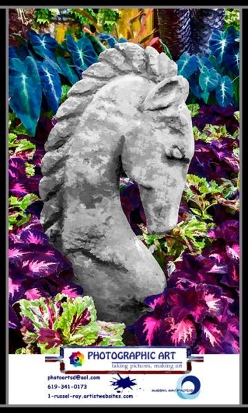 Horse sculpture in a garden at the Del Mar Fairgrounds in Del Mar, California