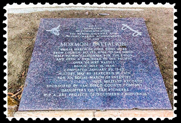 Mormon Battalion plaque at Fort Stockton in San Diego