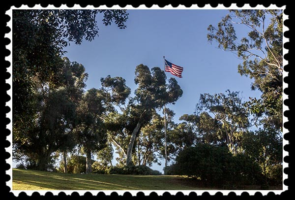 Site of Fort Stockton in San Diego, California, marked by a flag