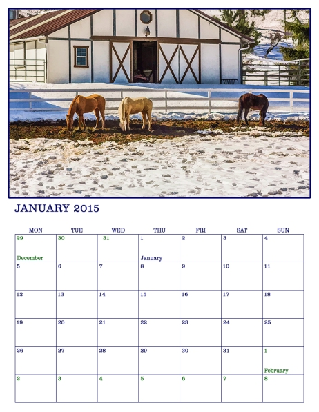 January 2015 Photographic Art calendar page