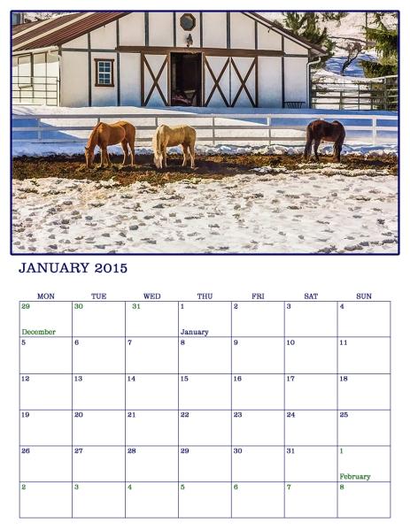 January 2015 Photographic Art calendar page