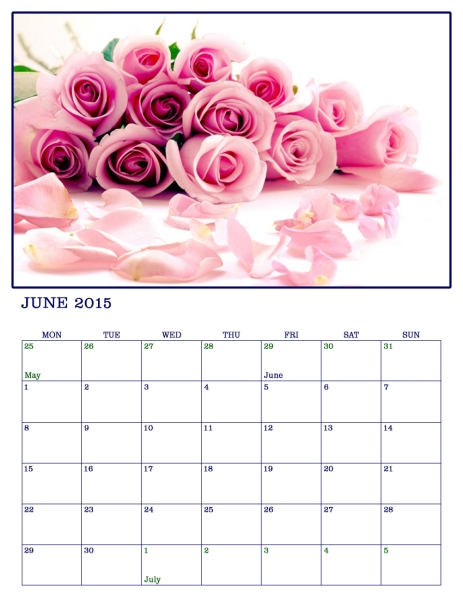 June 2015 Photographic Art calendar page