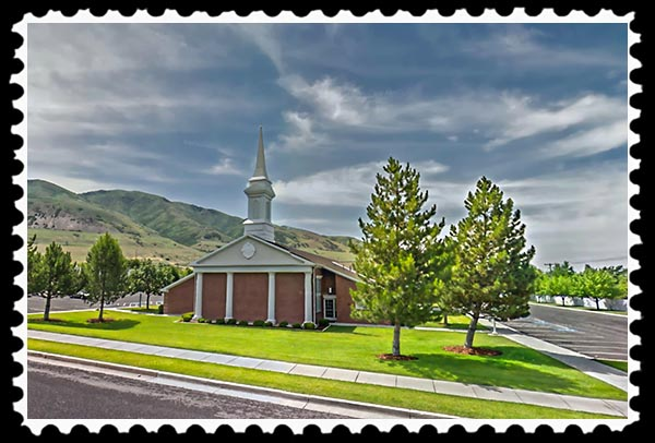 Mormon church in Brigham City Utah stamp