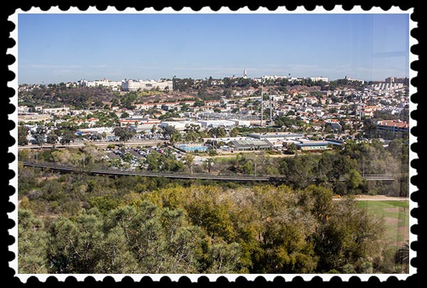 View of Fashion Valley Mall and the University of San Diego from the Serra Museum tower .