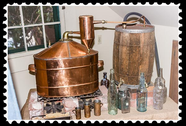 Replica of a whiskey still in the Davis-Horton House, San Diego