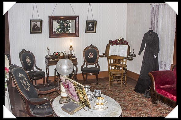 The parlor room in the historic Davis-Horton House in San Diego's historic Gaslamp Quarter