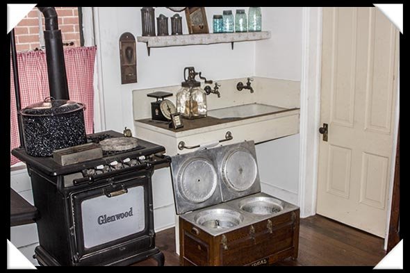 Kitchen of the historic Davis-Horton House in San Diego's historic Gaslamp Quarter