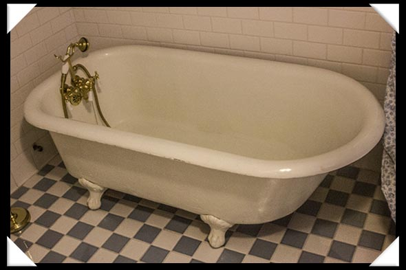 The Victorian bathroom in the historic Davis-Horton House in San Diego's historic Gaslamp Quarter
