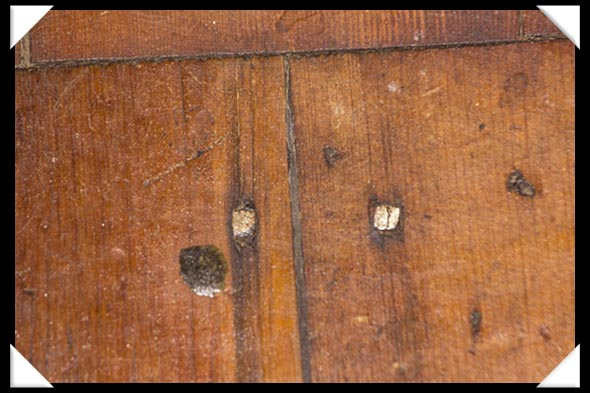 Square wooden nails in the historic Davis-Horton House in San Diego's historic Gaslamp Quarter