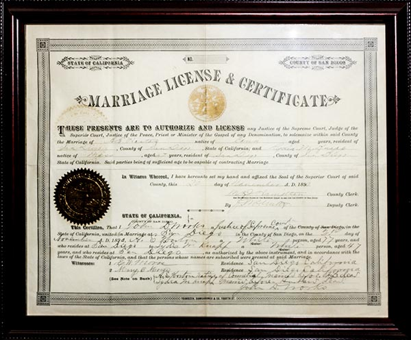 Alonzo Horton marriage certificate