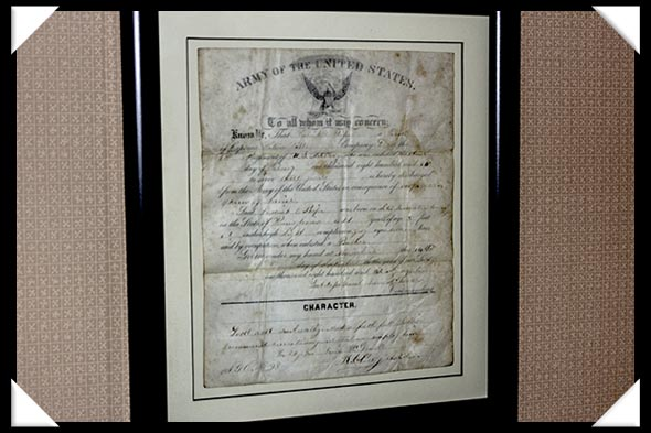 U.S. Army discharge for Frederick E. Phifer in the historic Davis-Horton House in San Diego's historic Gaslamp Quarter