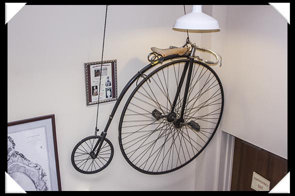 Ordinary bicycle from the 1880s in the historic Davis-Horton House in San Diego's historic Gaslamp Quarter