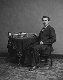 Thomas Edison and his second phonograph, April 1878