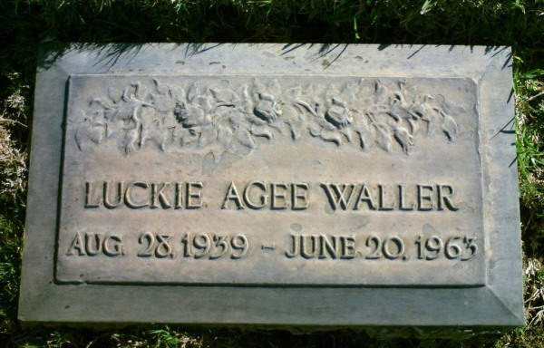 Luckie Agee Waller headstone at Glen Abbey Memorial Park in Bonita California