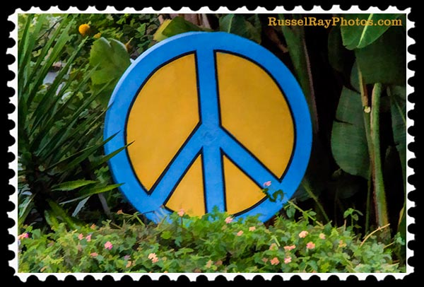 Peace symbol in Ocean Beach stamp