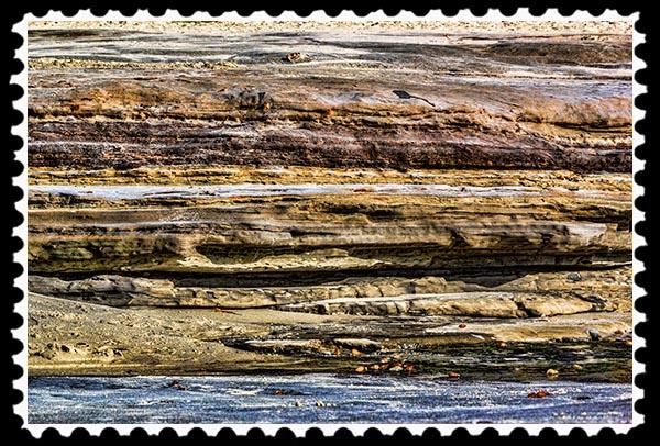 Sandstone cliff at the beach in La Jolla, California