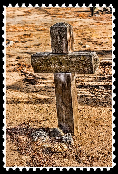 Grave marker at the cemetery at Mission San Antonio de Pala in Pala, California