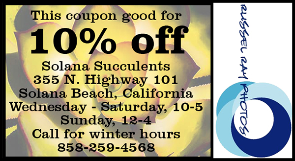 10% off coupon for Solana Succulents in Solana Beach, California