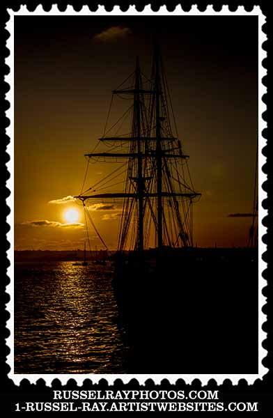 Sunset and a tall ship in San Diego, California