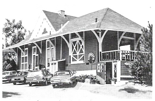 Ca. 1988 picture of the Encinitas railroad depot built by AT&SF in 1887