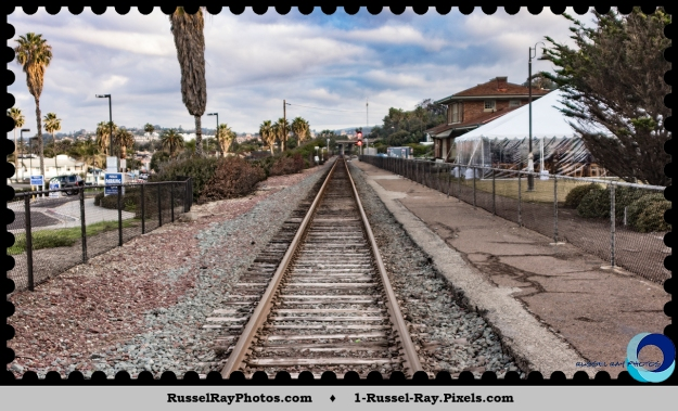 Tracks at the former Del Mar railroad depot, in upper right.