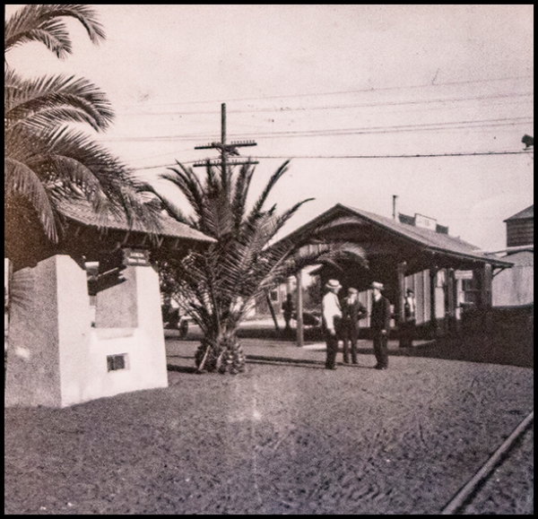 Spring fountain at La Mesa Depot, ca. 1914