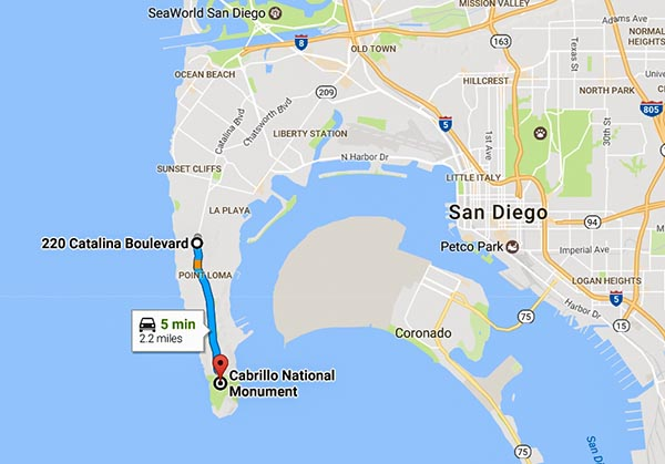 Map through Naval Base Point Loma