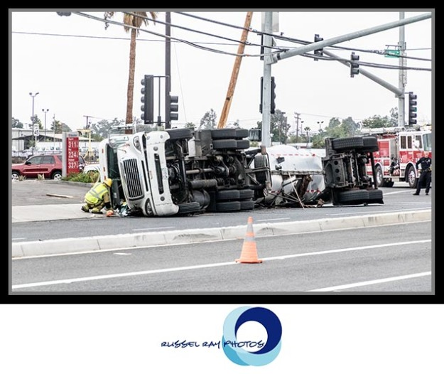 Overturned tanker on Route 66 in Rancho Cucamonga