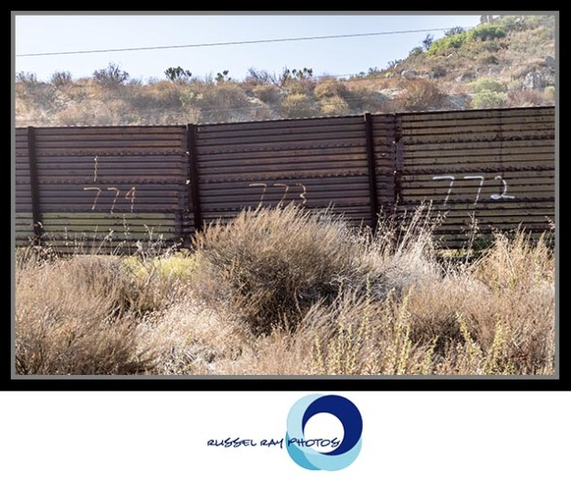 Border wall in San Diego County