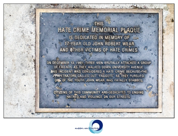 John Wear hate crimes plaque in Hillcrest, San Diego, California