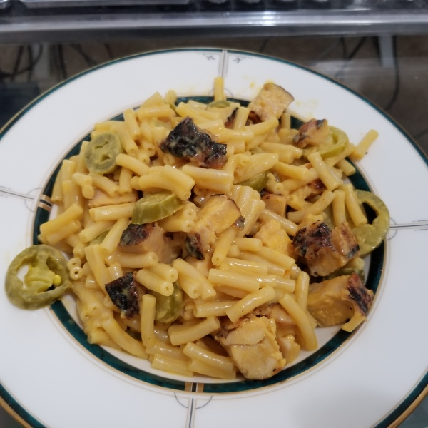 Chicken, jalapeños, and Kraft macaroni & cheese